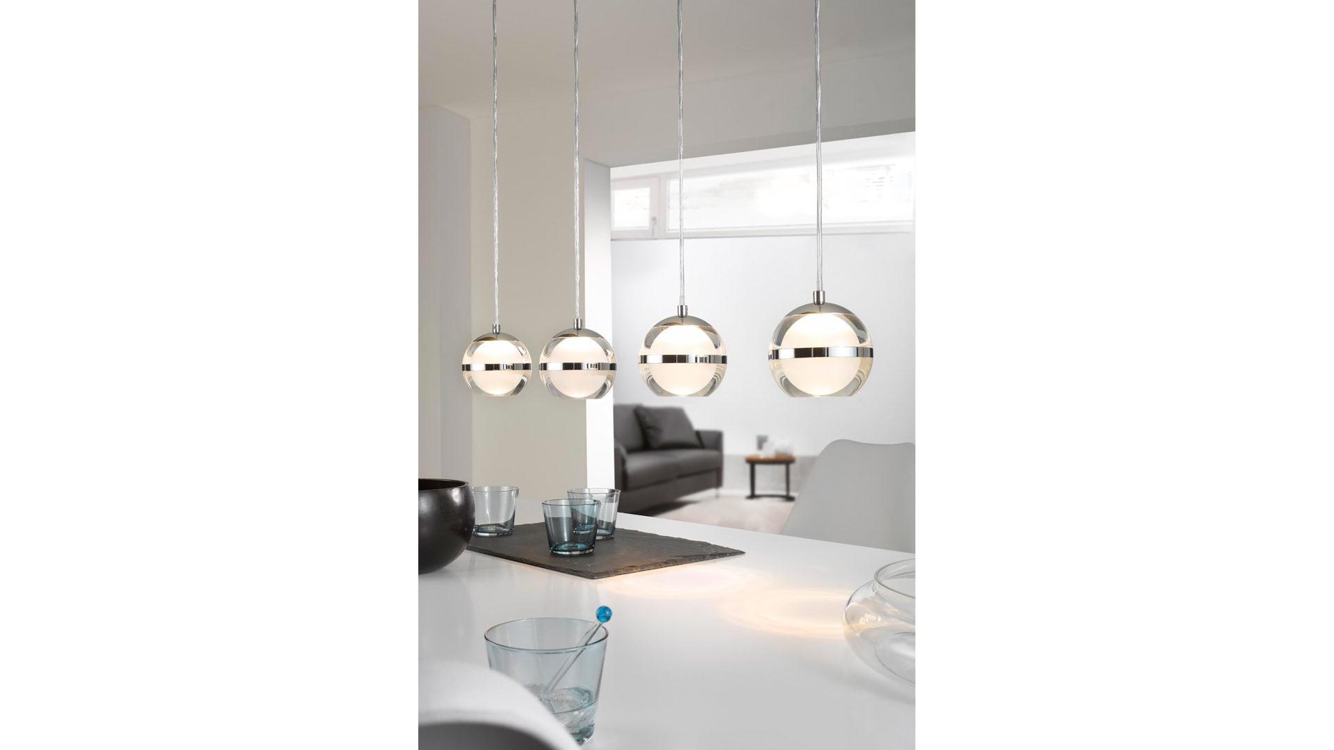 Möbel Bernskötter Mülheim, Räume, Esszimmer, Lampen + Leuchten, LED Pendelleuchte,  LED Pendelleuchte Fulton, Chrom U0026 Kunststoff   Vierflammig, Länge Ca.