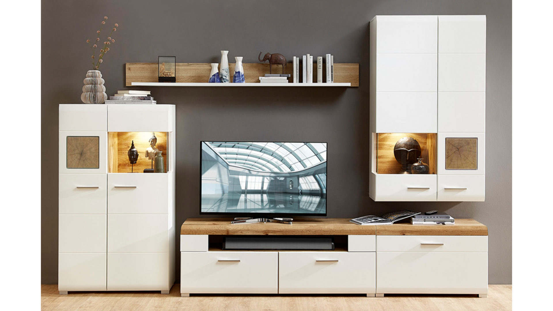Wohnwand Weie Holz ~ Wohnwand holz modern weiß günstig kaufen bei yatego